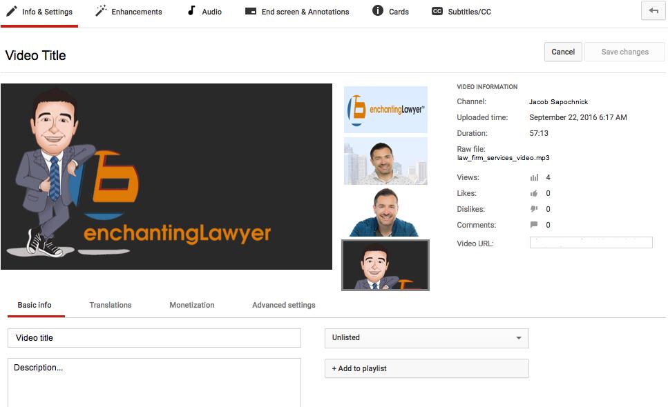 YouTube Optimization - Video Manager snapshot